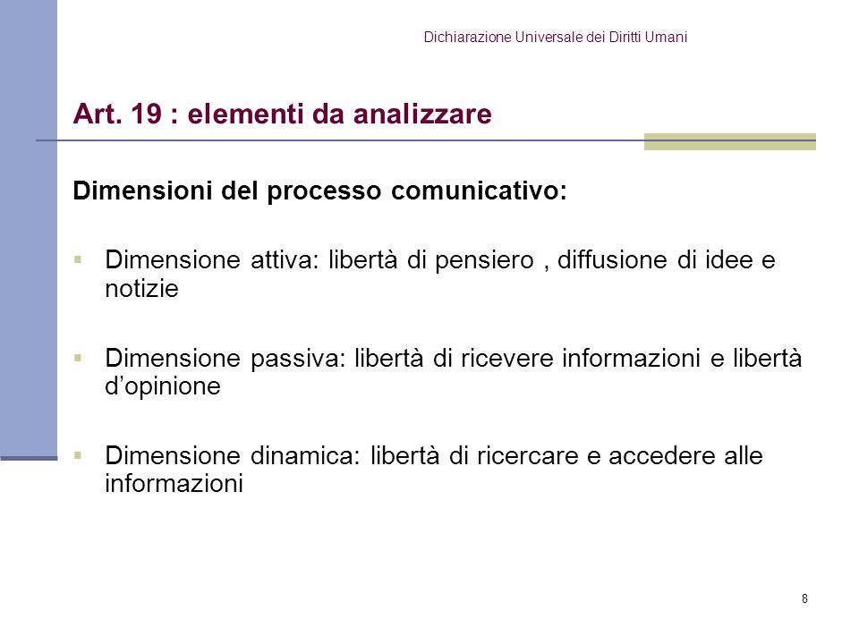 Art. 19 : elementi da analizzare