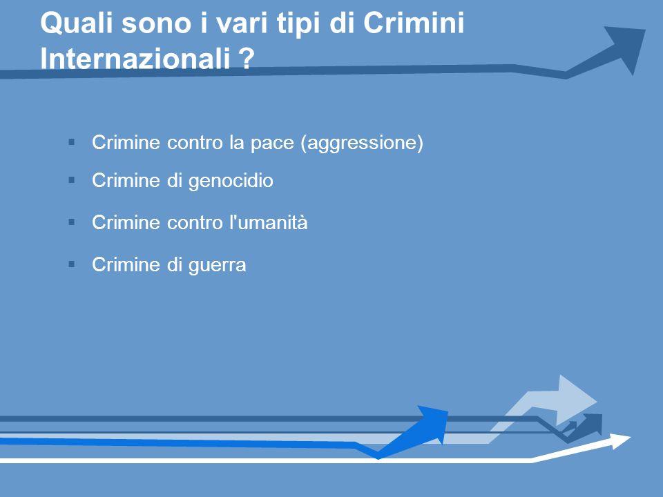 Quali sono i vari tipi di Crimini Internazionali