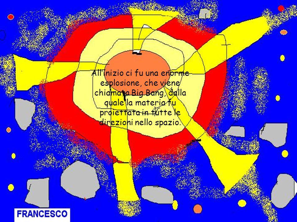 All'inizio ci fu una enorme esplosione, che viene chiamata Big Bang, dalla quale la materia fu proiettata in tutte le direzioni nello spazio.