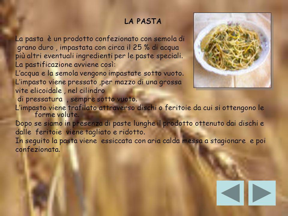 LA PASTA La pasta è un prodotto confezionato con semola di. grano duro , impastata con circa il 25 % di acqua.