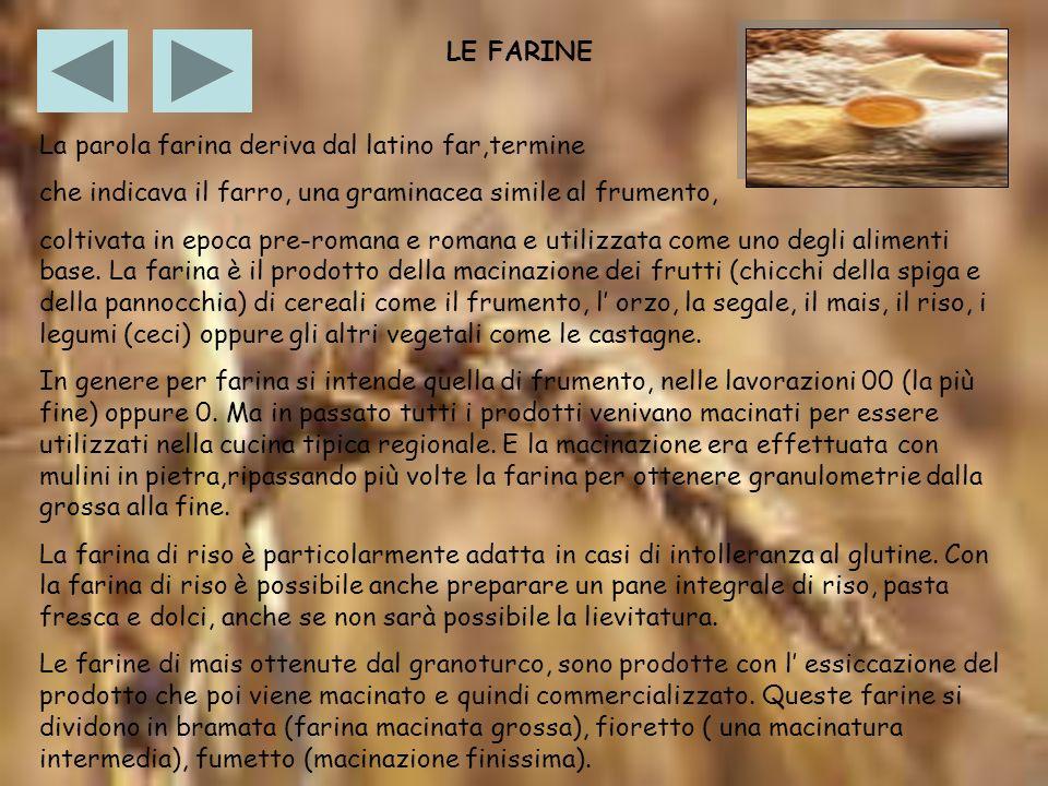 LE FARINE La parola farina deriva dal latino far,termine. che indicava il farro, una graminacea simile al frumento,