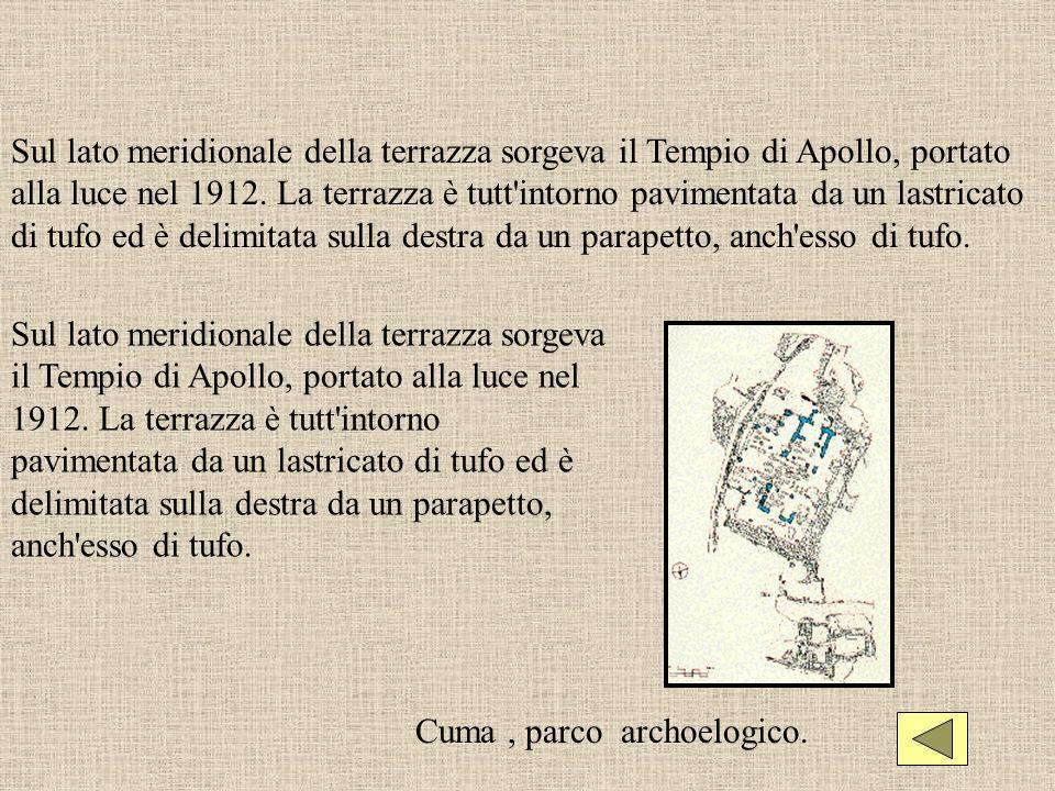 Sul lato meridionale della terrazza sorgeva il Tempio di Apollo, portato alla luce nel 1912. La terrazza è tutt intorno pavimentata da un lastricato di tufo ed è delimitata sulla destra da un parapetto, anch esso di tufo.