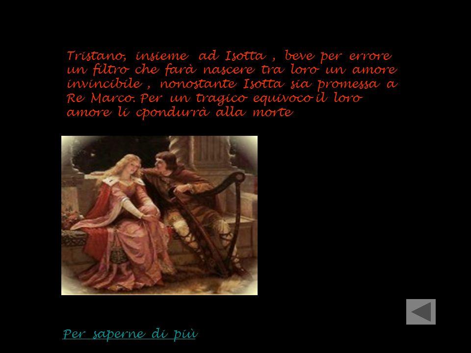 Tristano, insieme ad Isotta , beve per errore un filtro che farà nascere tra loro un amore invincibile , nonostante Isotta sia promessa a Re Marco. Per un tragico equivoco il loro amore li cpondurrà alla morte