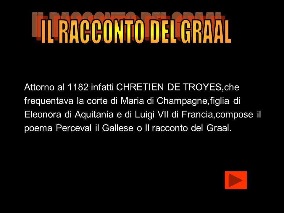 IL RACCONTO DEL GRAAL Attorno al 1182 infatti CHRETIEN DE TROYES,che. frequentava la corte di Maria di Champagne,figlia di.