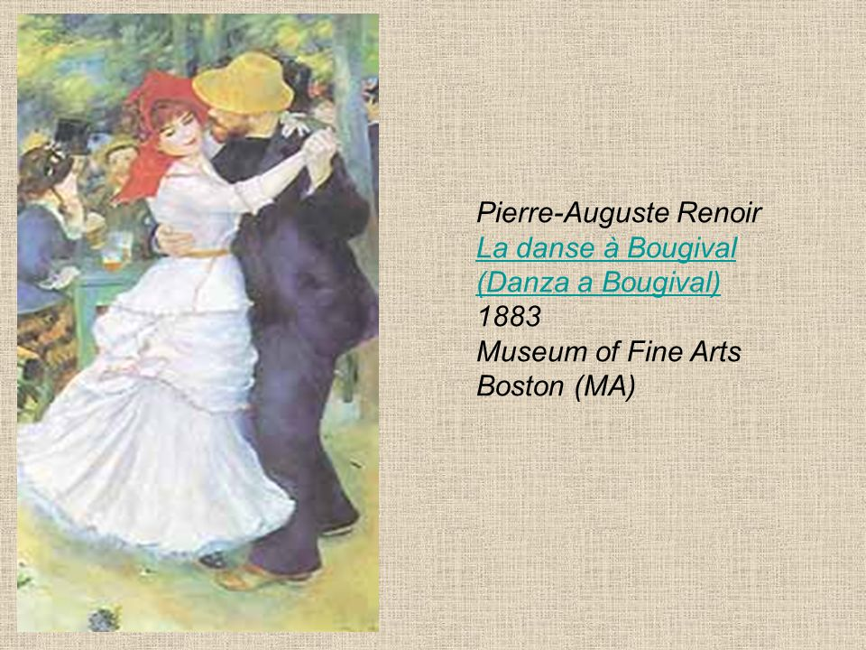 Pierre-Auguste Renoir La danse à Bougival (Danza a Bougival) 1883 Museum of Fine Arts Boston (MA)