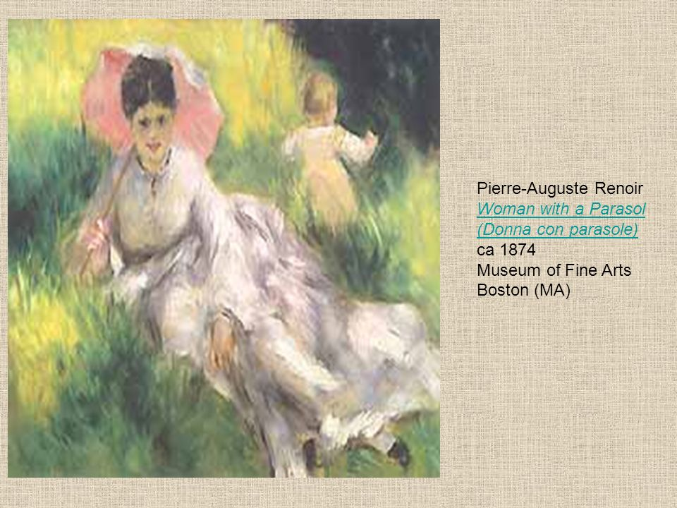 Pierre-Auguste Renoir Woman with a Parasol (Donna con parasole) ca 1874 Museum of Fine Arts Boston (MA)
