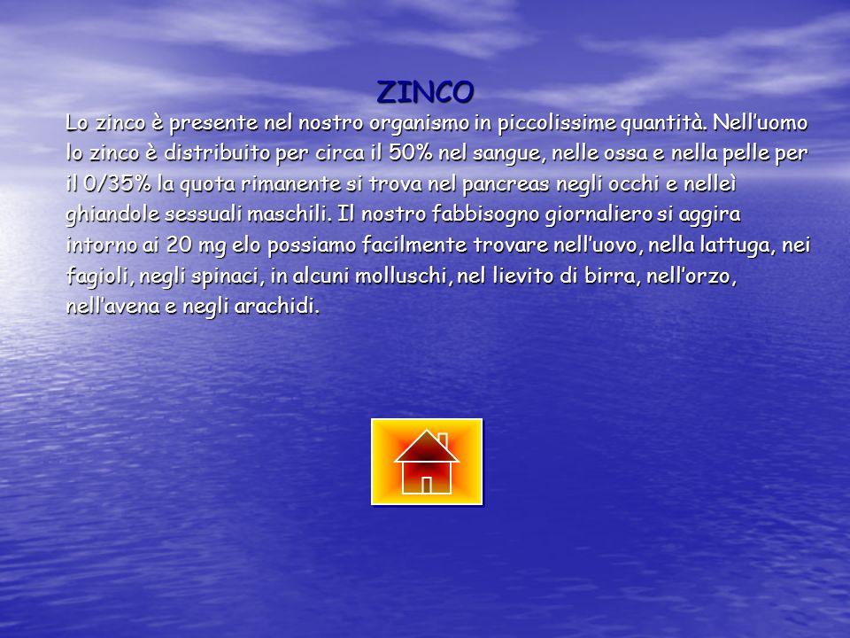 ZINCO Lo zinco è presente nel nostro organismo in piccolissime quantità. Nell'uomo.