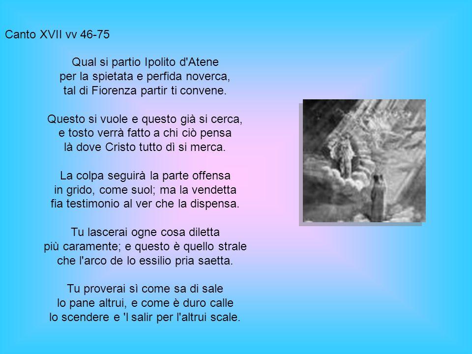 Canto XVII vv 46-75 Qual si partio Ipolito d Atene per la spietata e perfida noverca, tal di Fiorenza partir ti convene.