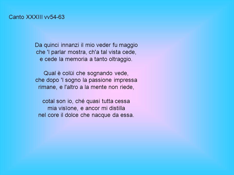 Canto XXXIII vv54-63 Da quinci innanzi il mio veder fu maggio che l parlar mostra, ch a tal vista cede, e cede la memoria a tanto oltraggio.