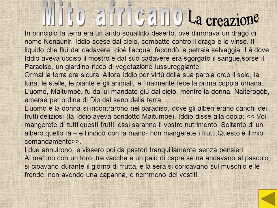 Mito africano La creazione