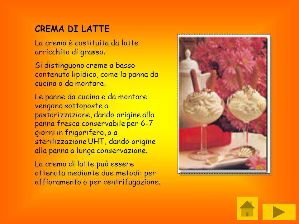 CREMA DI LATTE La crema è costituita da latte arricchito di grasso.