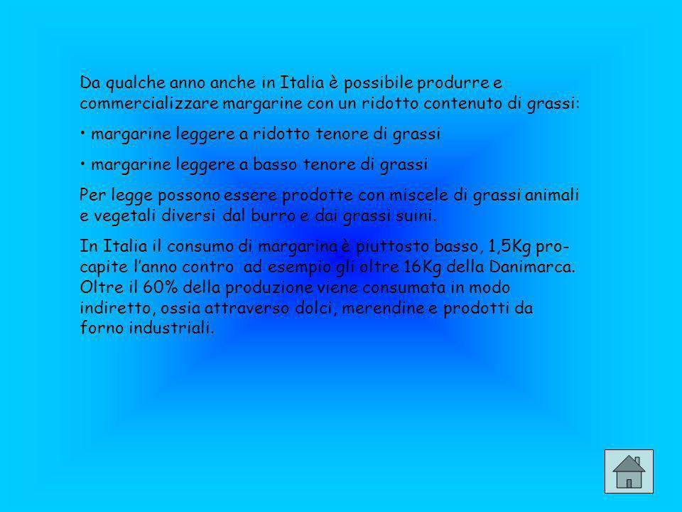 Da qualche anno anche in Italia è possibile produrre e commercializzare margarine con un ridotto contenuto di grassi: