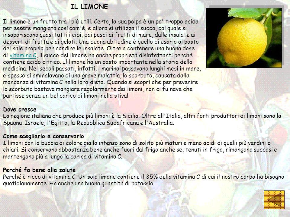 IL LIMONE Il limone è un frutto tra i più utili. Certo, la sua polpa è un po troppo acida.