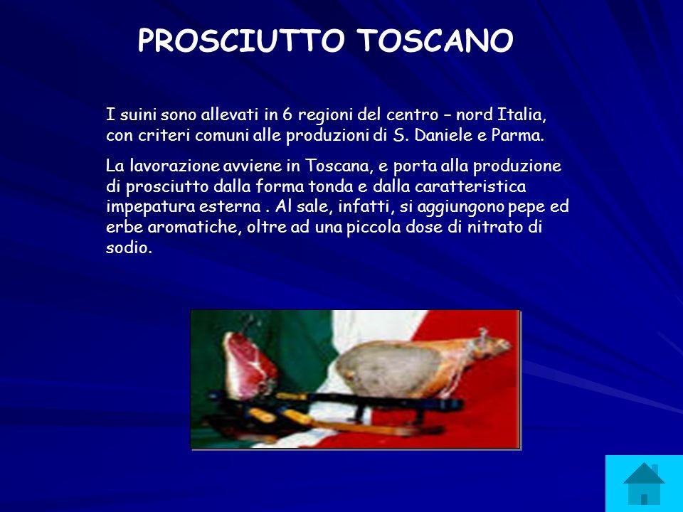 PROSCIUTTO TOSCANO I suini sono allevati in 6 regioni del centro – nord Italia, con criteri comuni alle produzioni di S. Daniele e Parma.