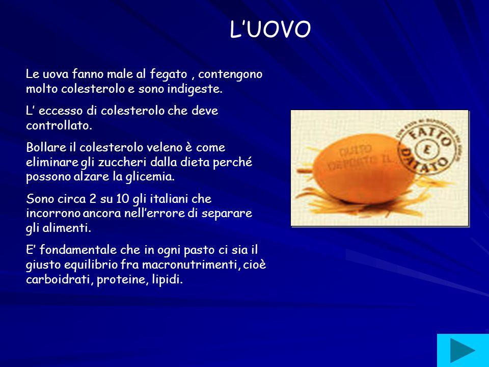 L'UOVO Le uova fanno male al fegato , contengono molto colesterolo e sono indigeste. L' eccesso di colesterolo che deve controllato.