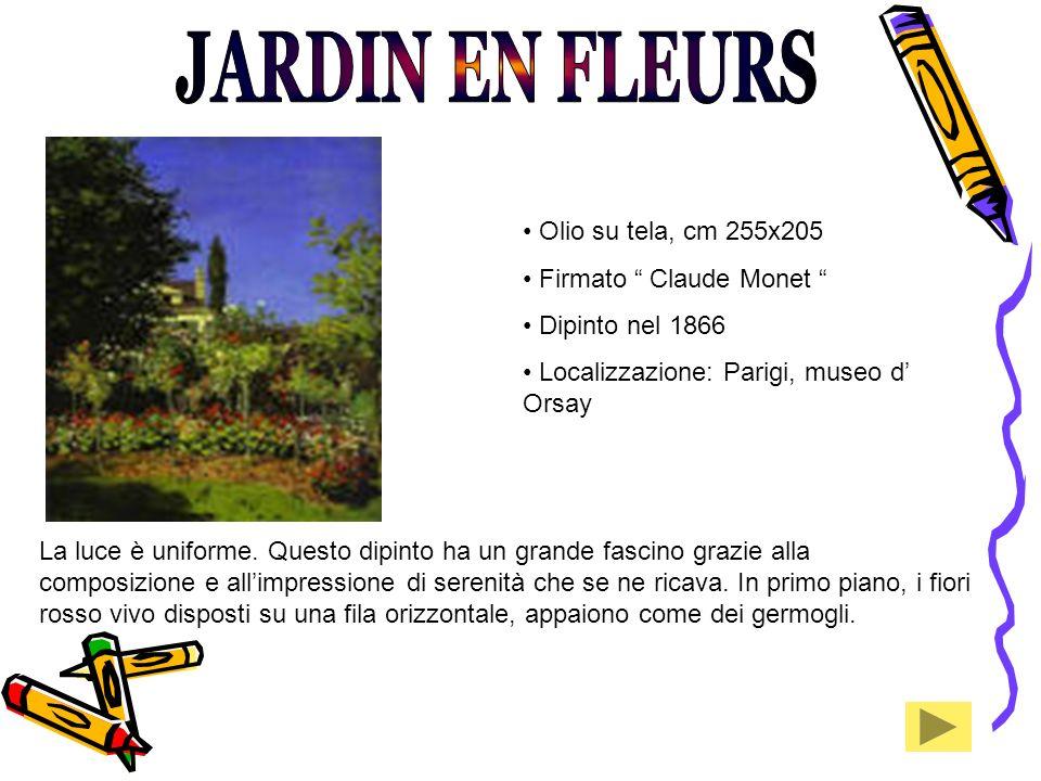 JARDIN EN FLEURS Olio su tela, cm 255x205 Firmato Claude Monet