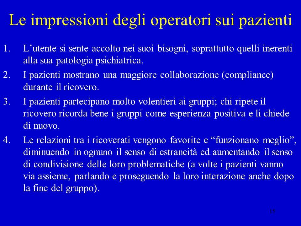 Le impressioni degli operatori sui pazienti