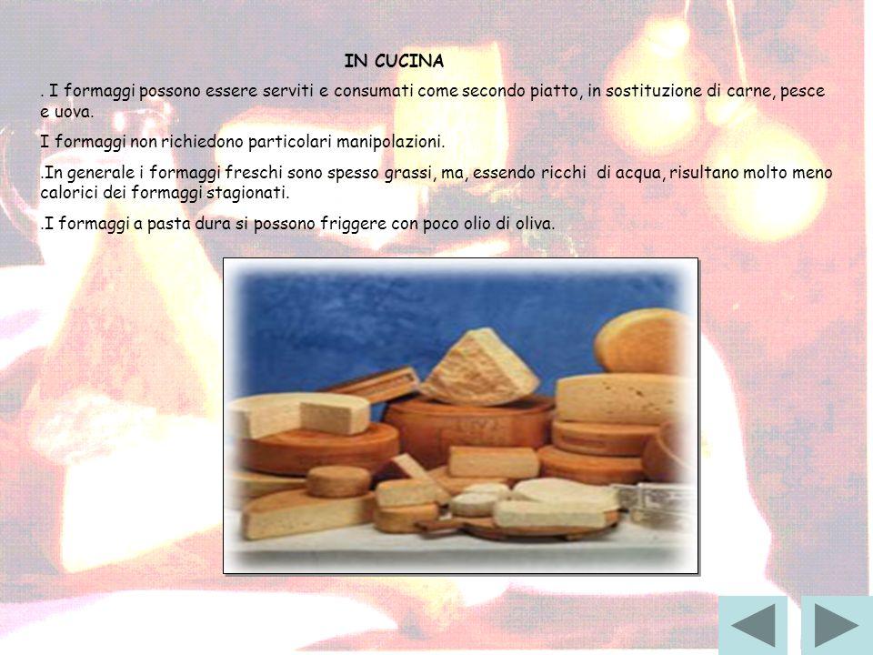 IN CUCINA . I formaggi possono essere serviti e consumati come secondo piatto, in sostituzione di carne, pesce e uova.