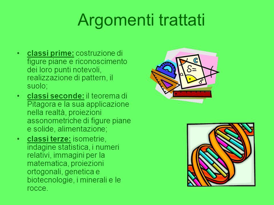 Argomenti trattati classi prime: costruzione di figure piane e riconoscimento dei loro punti notevoli, realizzazione di pattern, il suolo;