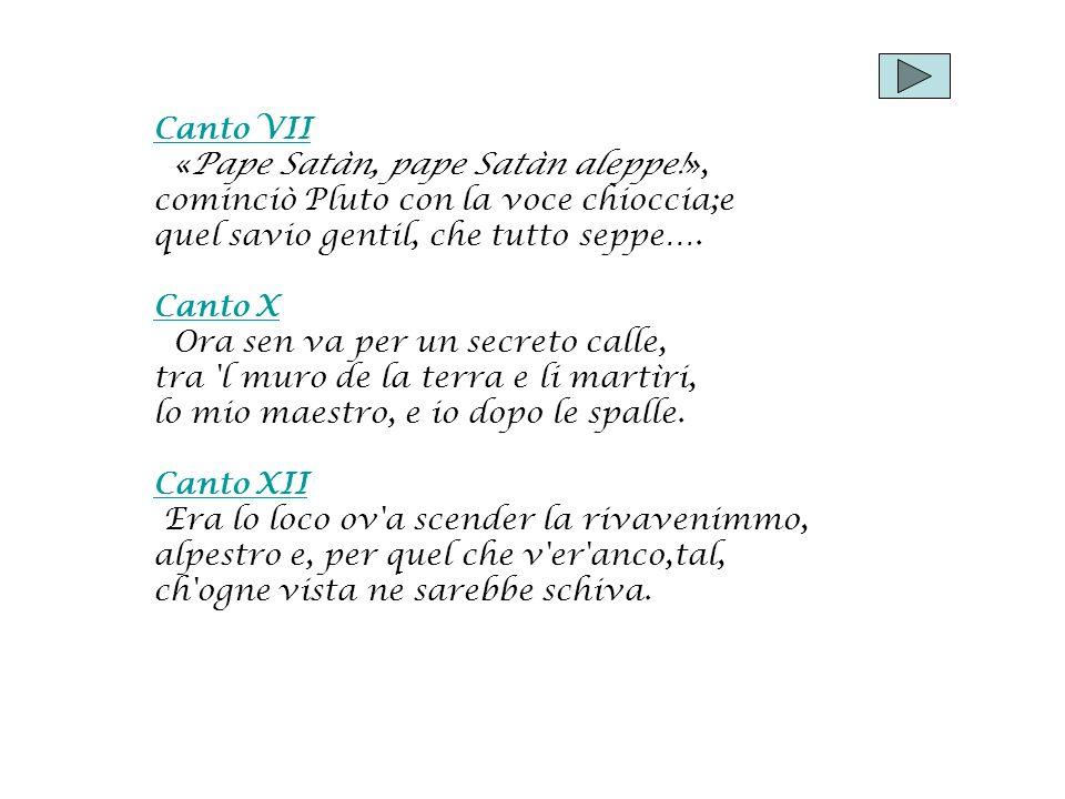 Canto VII «Pape Satàn, pape Satàn aleppe!», cominciò Pluto con la voce chioccia;e. quel savio gentil, che tutto seppe….
