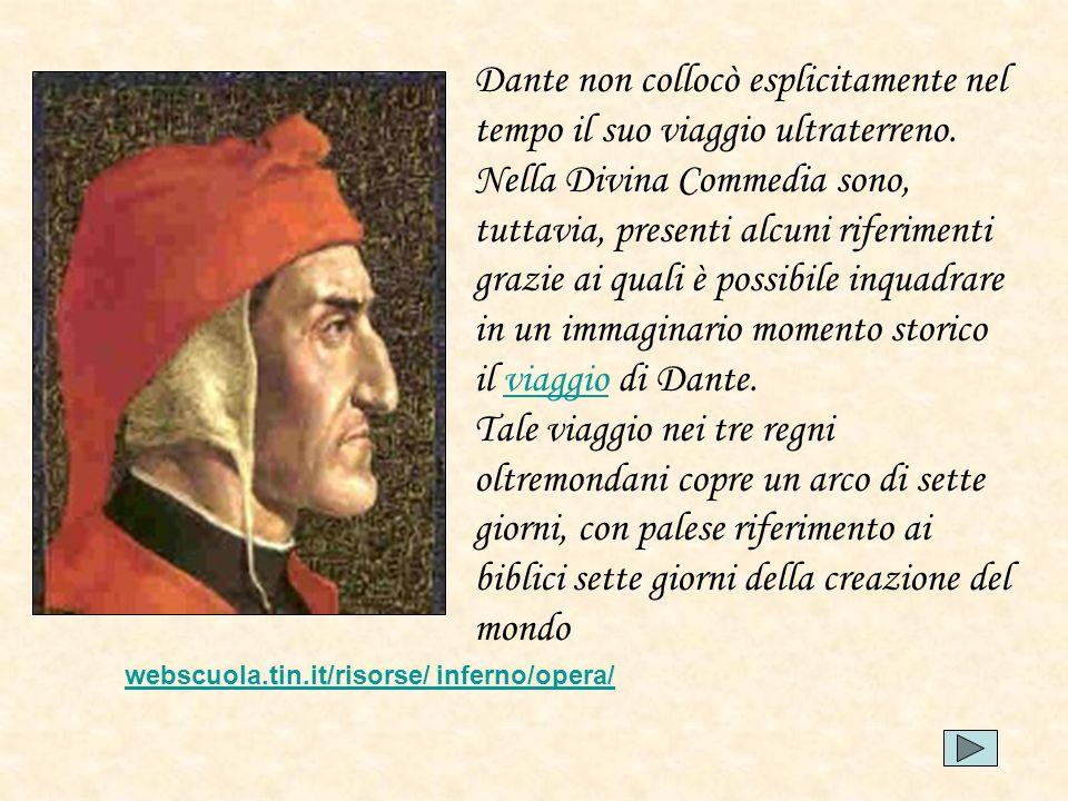 Dante non collocò esplicitamente nel tempo il suo viaggio ultraterreno