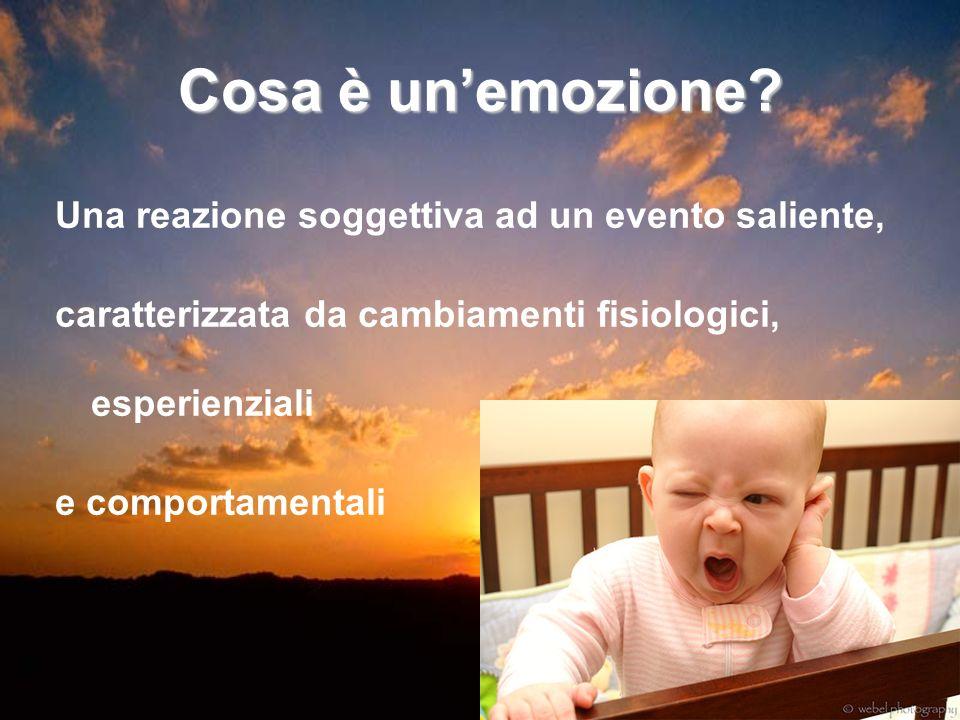 Cosa è un'emozione Una reazione soggettiva ad un evento saliente,