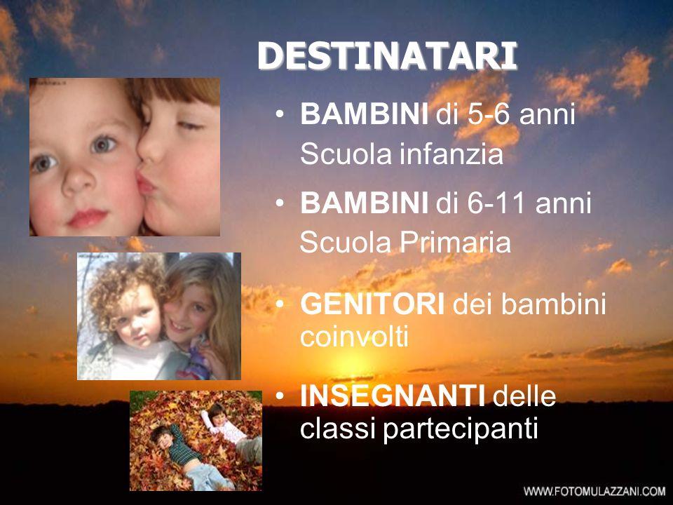 DESTINATARI BAMBINI di 5-6 anni Scuola infanzia BAMBINI di 6-11 anni
