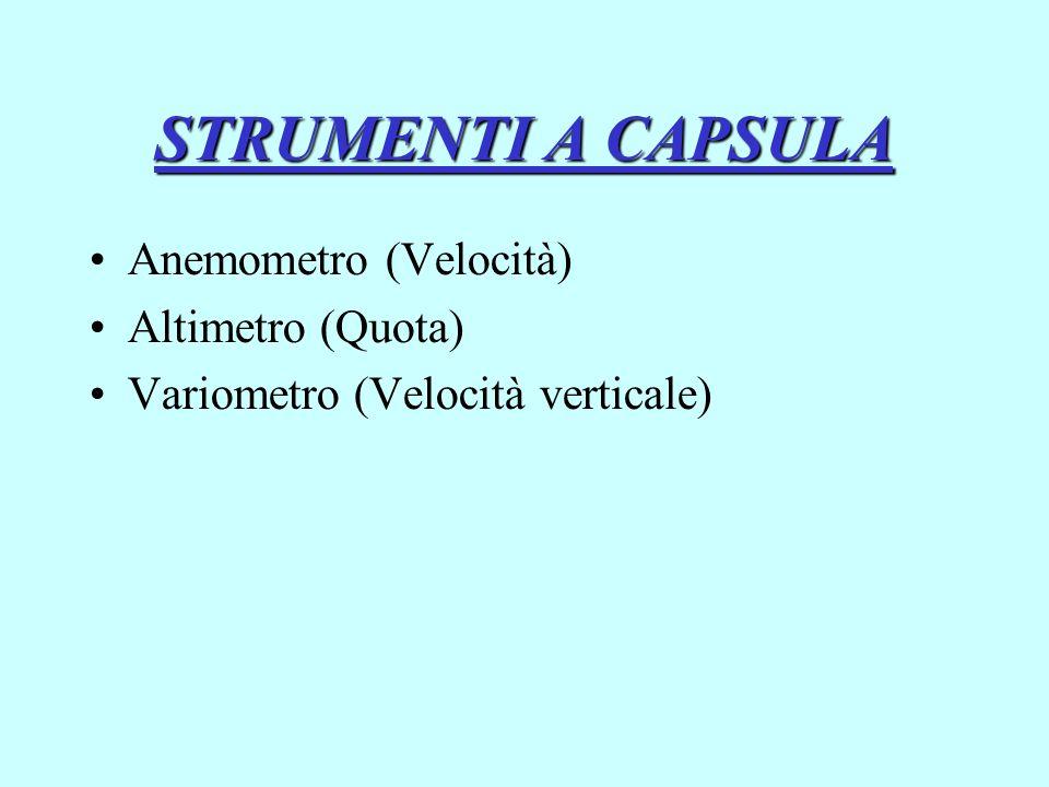 STRUMENTI A CAPSULA Anemometro (Velocità) Altimetro (Quota)