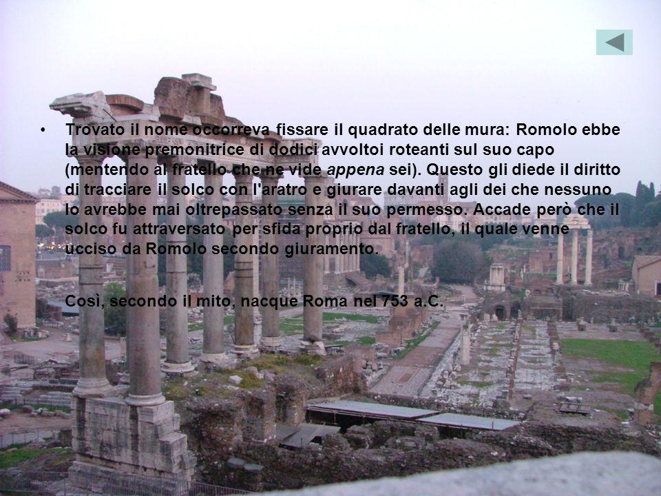 Trovato il nome occorreva fissare il quadrato delle mura: Romolo ebbe la visione premonitrice di dodici avvoltoi roteanti sul suo capo (mentendo al fratello che ne vide appena sei).