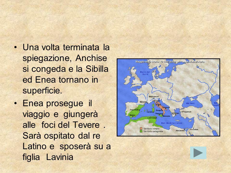 Una volta terminata la spiegazione, Anchise si congeda e la Sibilla ed Enea tornano in superficie.