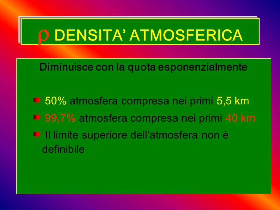  DENSITA' ATMOSFERICA