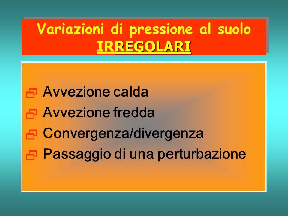 Variazioni di pressione al suolo IRREGOLARI