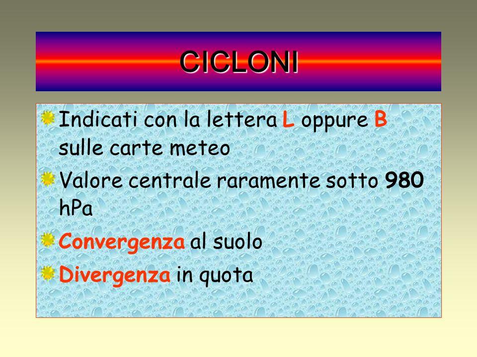 CICLONI Indicati con la lettera L oppure B sulle carte meteo