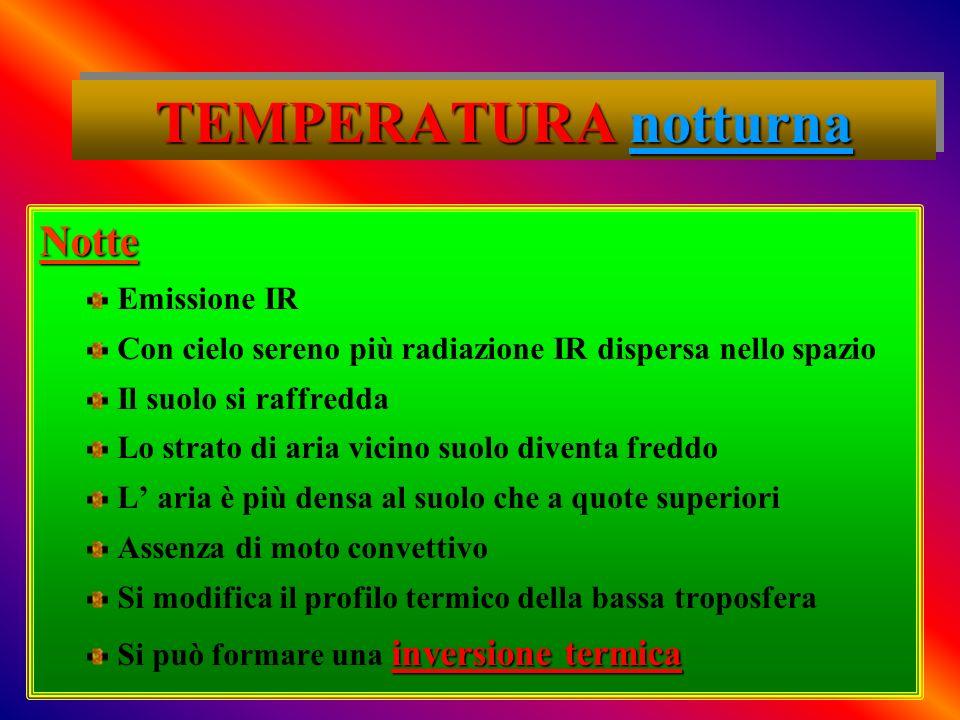 TEMPERATURA notturna Notte Emissione IR