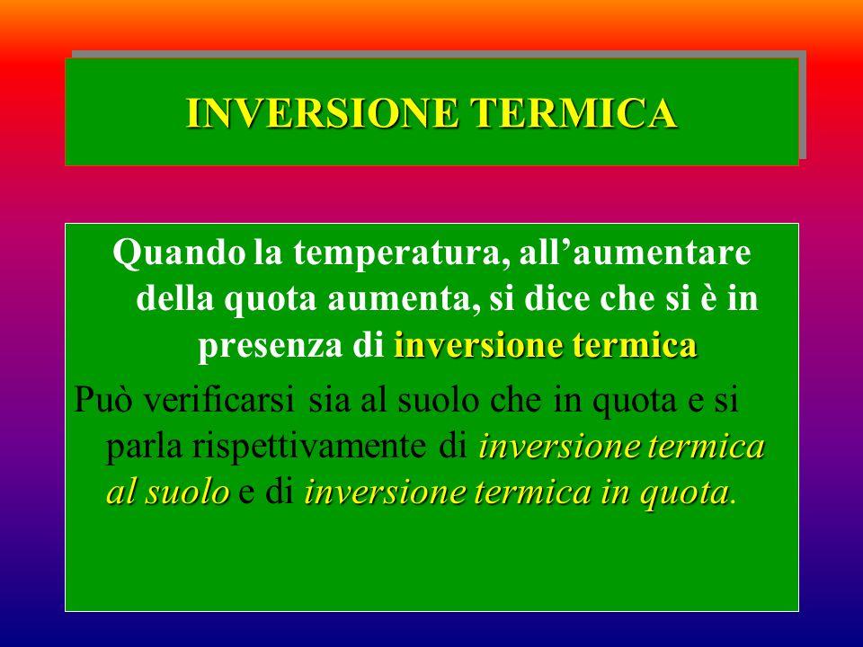 INVERSIONE TERMICA Quando la temperatura, all'aumentare della quota aumenta, si dice che si è in presenza di inversione termica.