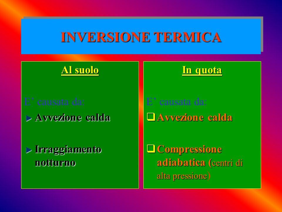 INVERSIONE TERMICA Al suolo E' causata da: Avvezione calda