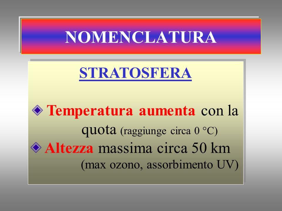 Temperatura aumenta con la quota (raggiunge circa 0 °C)