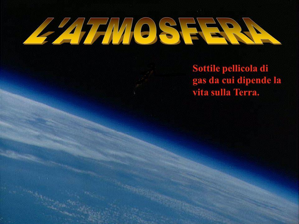 L ATMOSFERA Sottile pellicola di gas da cui dipende la vita sulla Terra.