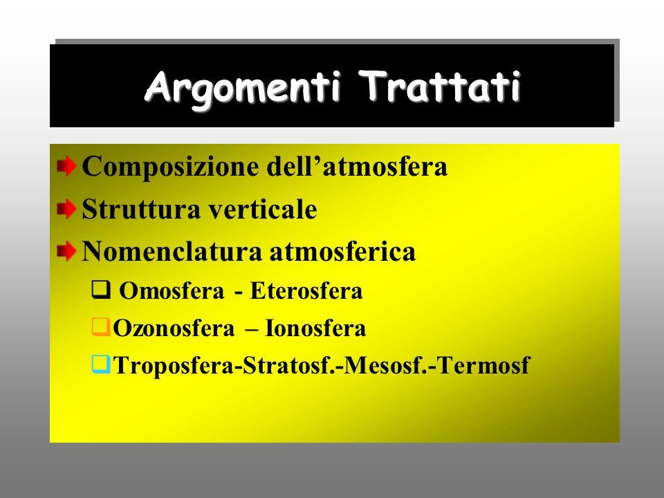 Argomenti Trattati Composizione dell'atmosfera Struttura verticale