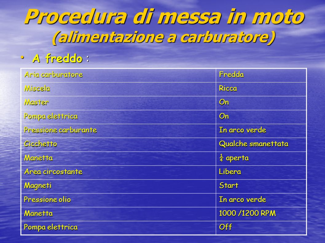 Procedura di messa in moto (alimentazione a carburatore)