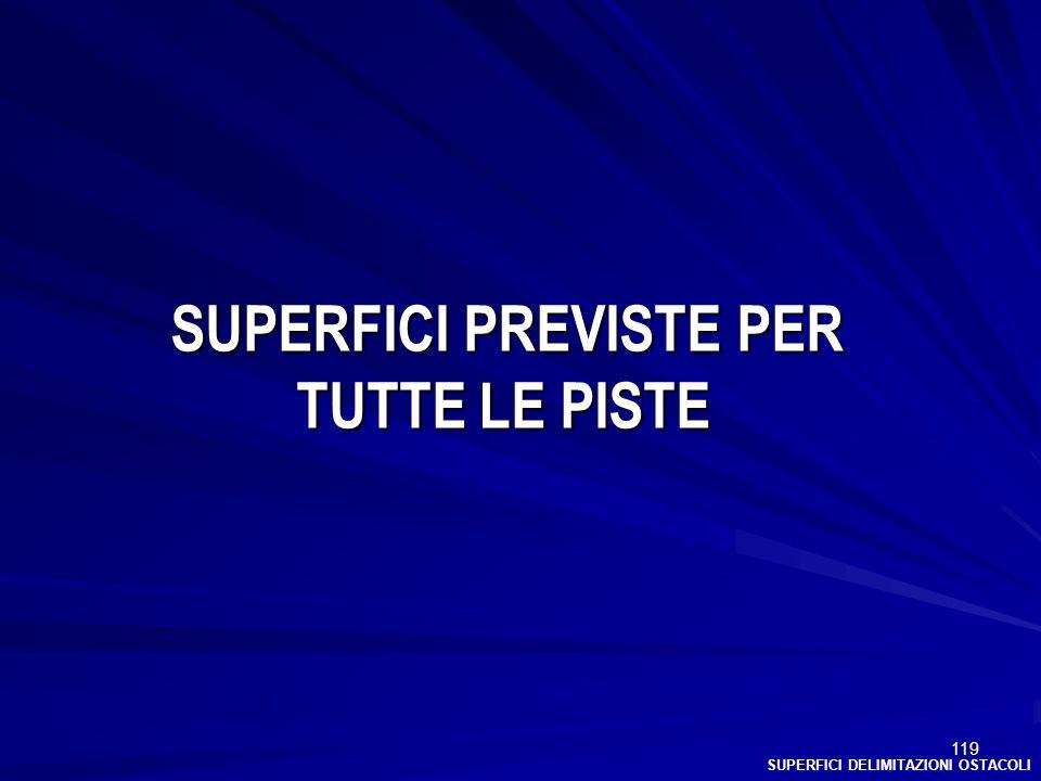 SUPERFICI PREVISTE PER TUTTE LE PISTE
