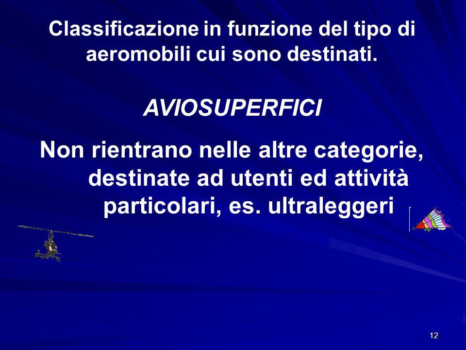 Classificazione in funzione del tipo di aeromobili cui sono destinati.