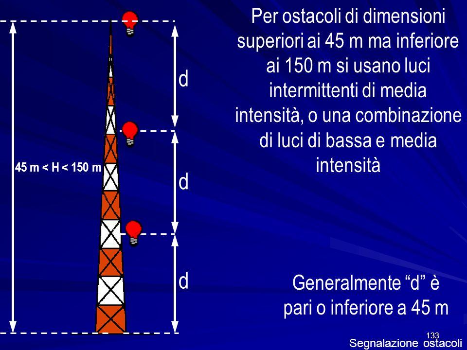 Generalmente d è pari o inferiore a 45 m