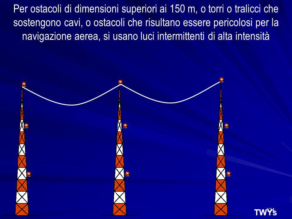 Per ostacoli di dimensioni superiori ai 150 m, o torri o tralicci che sostengono cavi, o ostacoli che risultano essere pericolosi per la navigazione aerea, si usano luci intermittenti di alta intensità