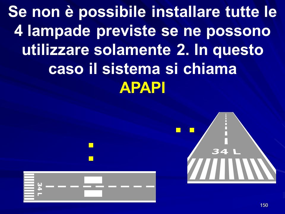 Se non è possibile installare tutte le 4 lampade previste se ne possono utilizzare solamente 2. In questo caso il sistema si chiama APAPI