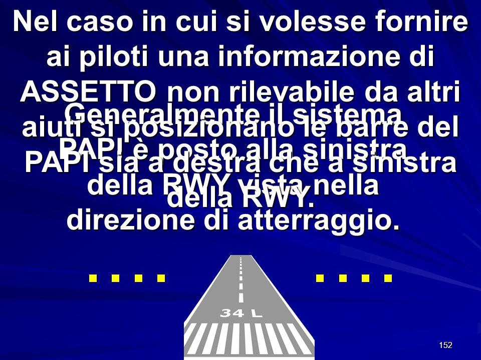 Nel caso in cui si volesse fornire ai piloti una informazione di ASSETTO non rilevabile da altri aiuti si posizionano le barre del PAPI sia a destra che a sinistra della RWY.