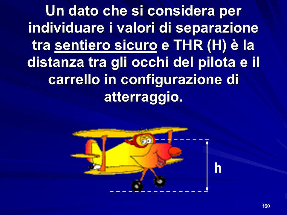 Un dato che si considera per individuare i valori di separazione tra sentiero sicuro e THR (H) è la distanza tra gli occhi del pilota e il carrello in configurazione di atterraggio.
