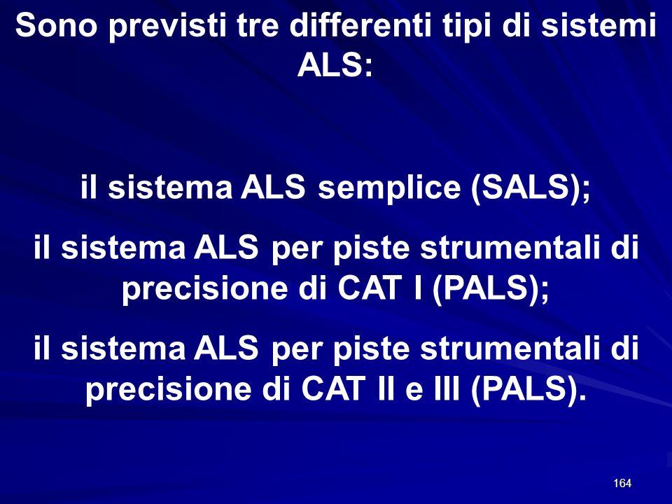 Sono previsti tre differenti tipi di sistemi ALS: