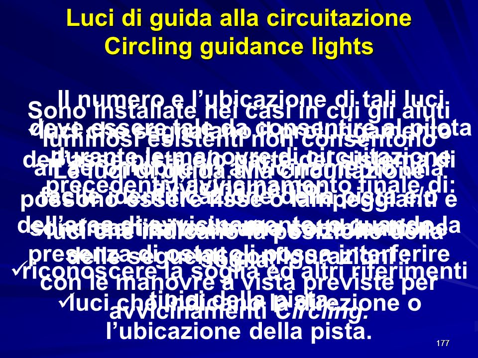 Luci di guida alla circuitazione Circling guidance lights