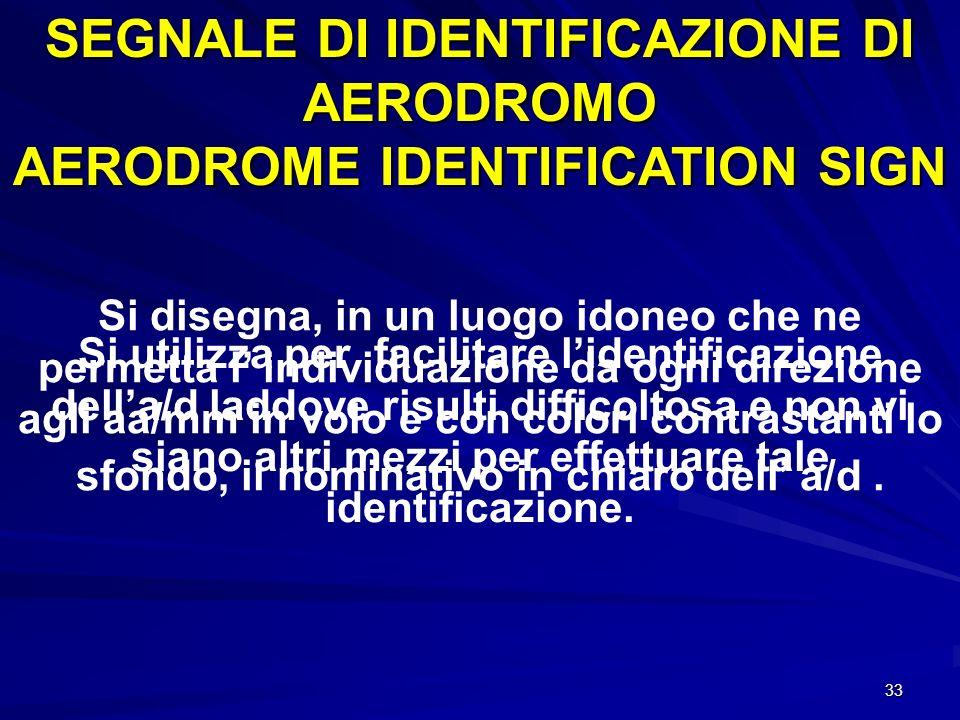 SEGNALE DI IDENTIFICAZIONE DI AERODROMO AERODROME IDENTIFICATION SIGN